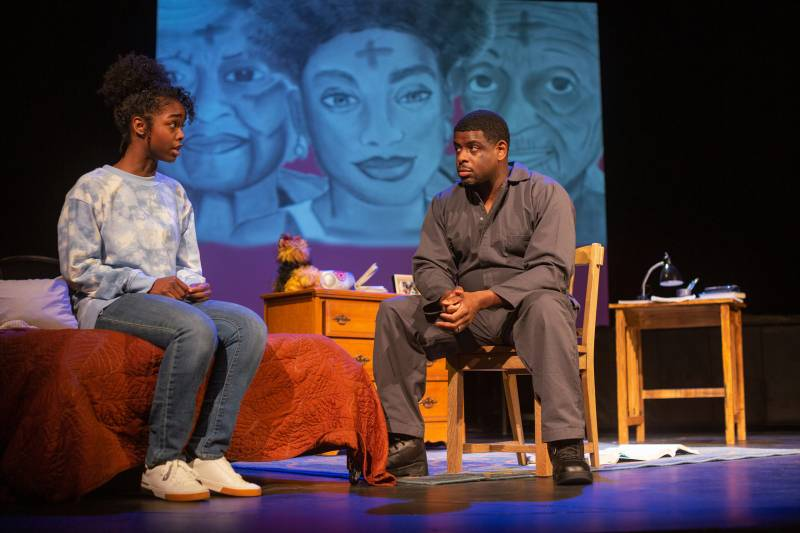 Jamella Cross as davis and Khary L. Moye as ernest in '[hieroglyph]' by Erika Dickerson-Despenza.