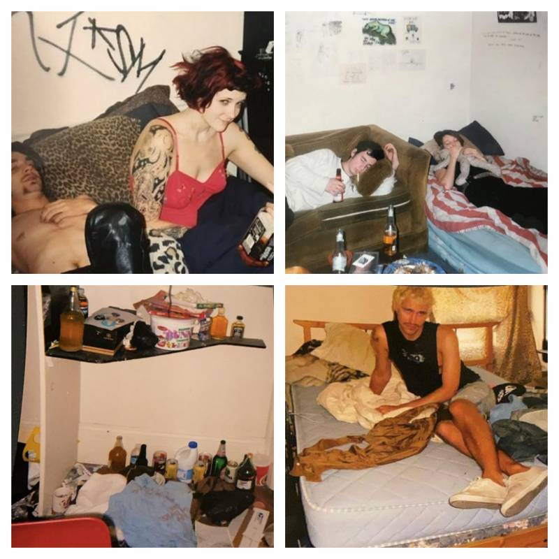 "Some examples of punk house sleeping quarters. Top row: (L) Nate and Hilary, couch nappers. Bottom row: ""Nobunny's room"" and Seth."