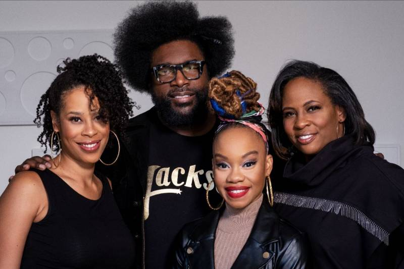 Executive producer Ahmir 'Questlove' Thompson with the creative team for 'Soul Train,' premiering at ACT in 2022 (L-R): Dominique Morisseau (playwright), Camille A. Brown (choreographer) and Kamilah Forbes (director).