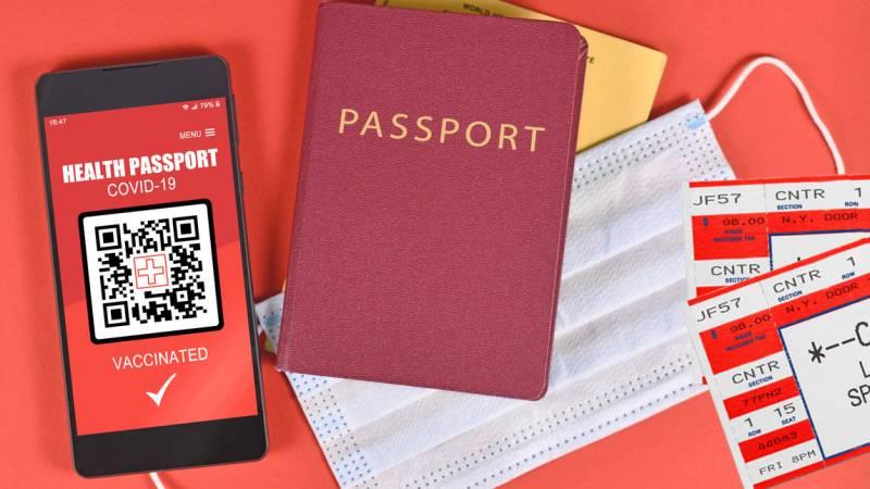 a vaccine passport with ticket stubs