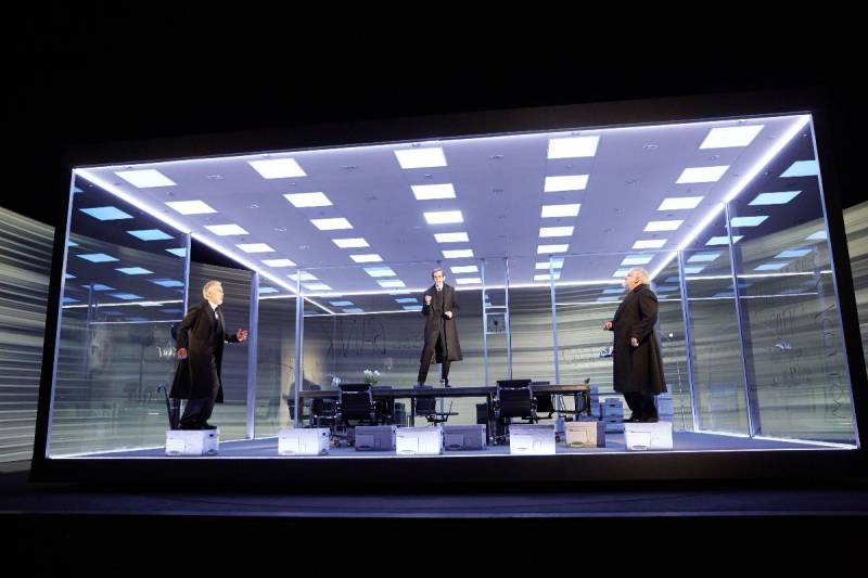 Ben Miles, Adam Godley and Simon Russell Beale (L-R) in 'The Lehman Trilogy' at the National Theatre.