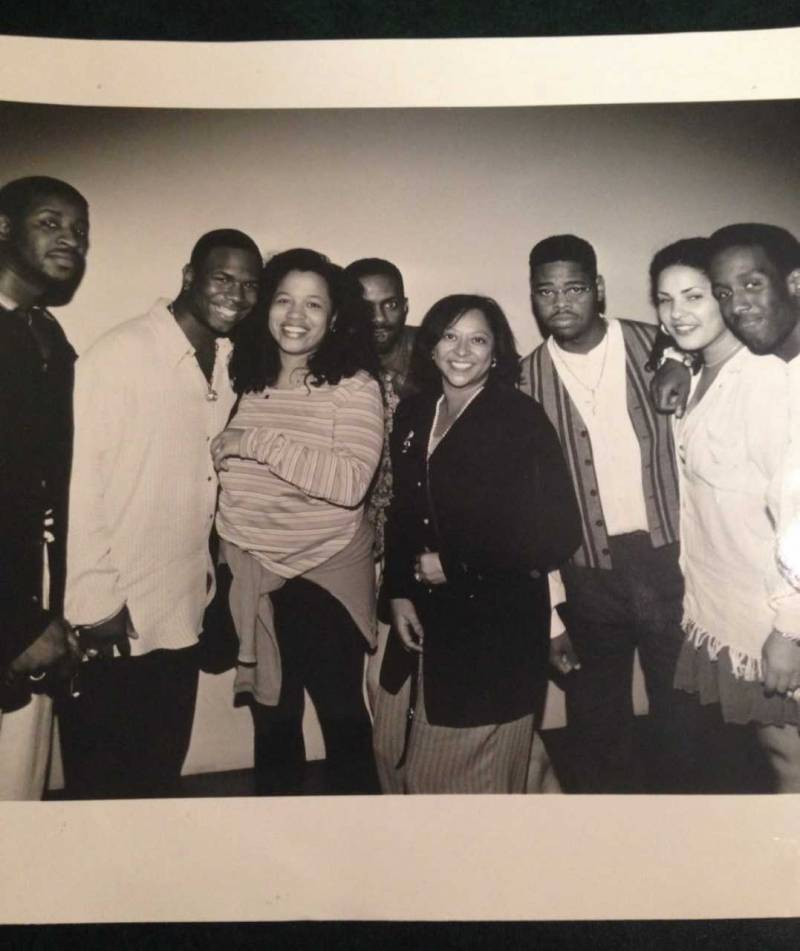 Inside of the NYC Billboard offices in 1993 as Boyz II Men (and friends) pose with Billboard's R&B editor Danyel Smith (center) and R&B/Hip Hop Charts Director Terri Rossi.