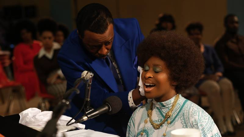 Courtney B. Vance, left, as C.L. Franklin, with Cynthia Erivo as Aretha Franklin, in a scene from the miniseries 'Genius: Aretha' set at the New Temple Missionary Baptist Church.