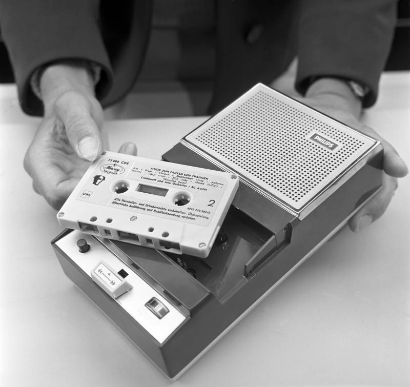 A Philips cassette tape is shown in 1965.
