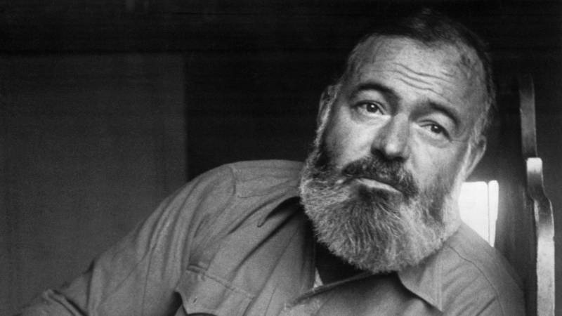A photo of Ernest Hemingway, with beard. Ken Burns' three-part documentary about American writer Ernest Hemingway (shown above) premieres on PBS, April 5.
