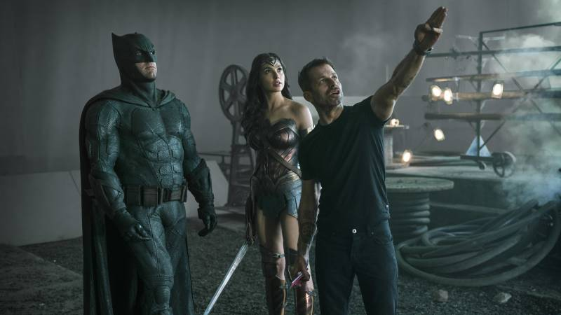 Zack Snyder directs Ben Affleck and Gal Gadot on the set of 'Justice League.'