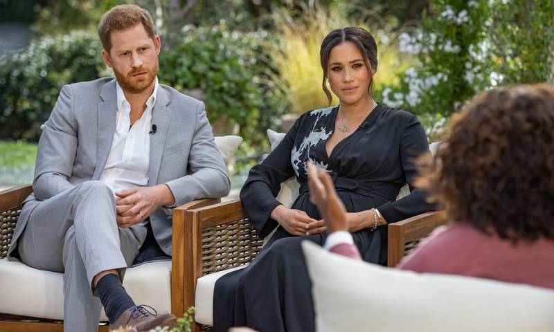 Prince Harry and Meghan Markle being interviewed by Oprah Winfrey during Sunday night's special on CBS.