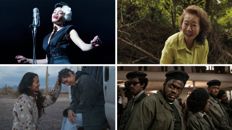 Clockwise from top left: Audra Day in 'United States Vs. Billie Holiday,' Yuh-Jung Youn in 'Minari,' Daniel Kaluuya in 'Judas and the Black Messiah,' 'Nomadland' director Chloe Zhao with Frances McDormand.