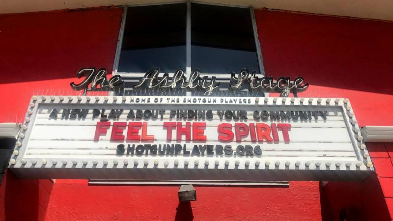 The Ashby Players marquee advertising 'Feel the Spirit'