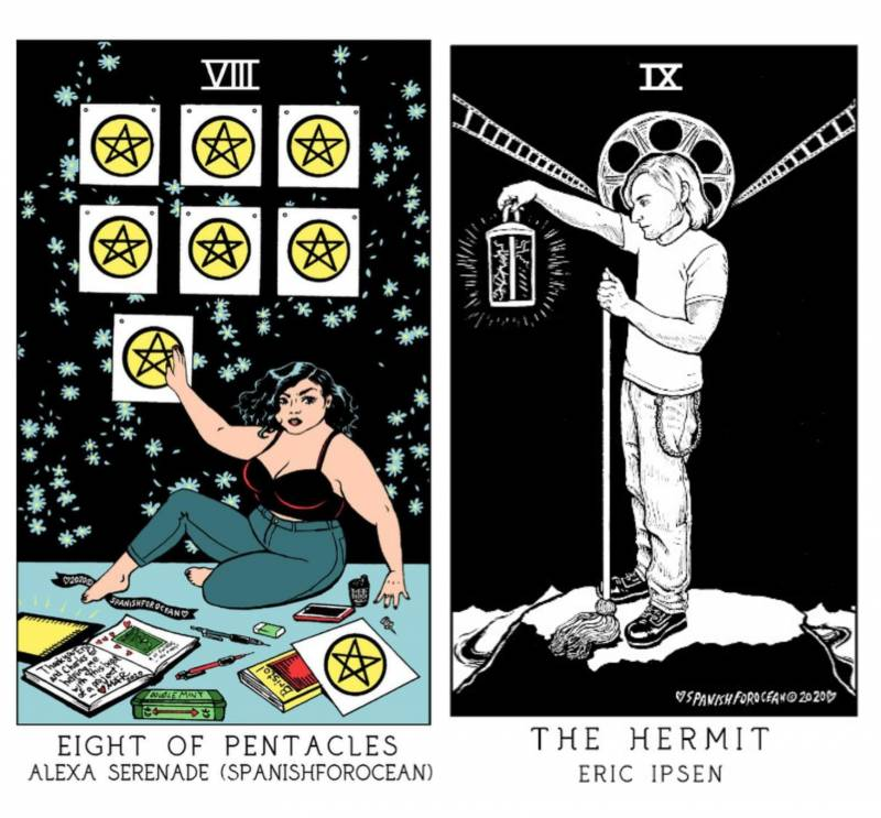 Melina Alexa Ramirez and Eric Ipsen included themselves in the tarot deck as the Eight of Pentacles and the Hermit.