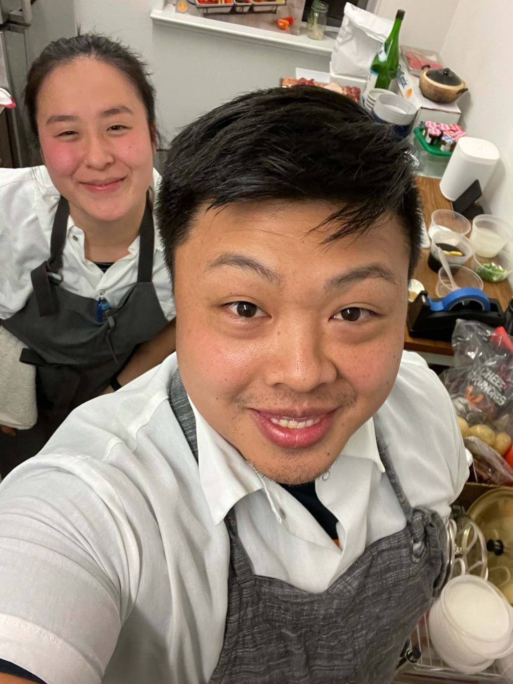 Will Thanapisitikul (left) and Alex Chin in the kitchen