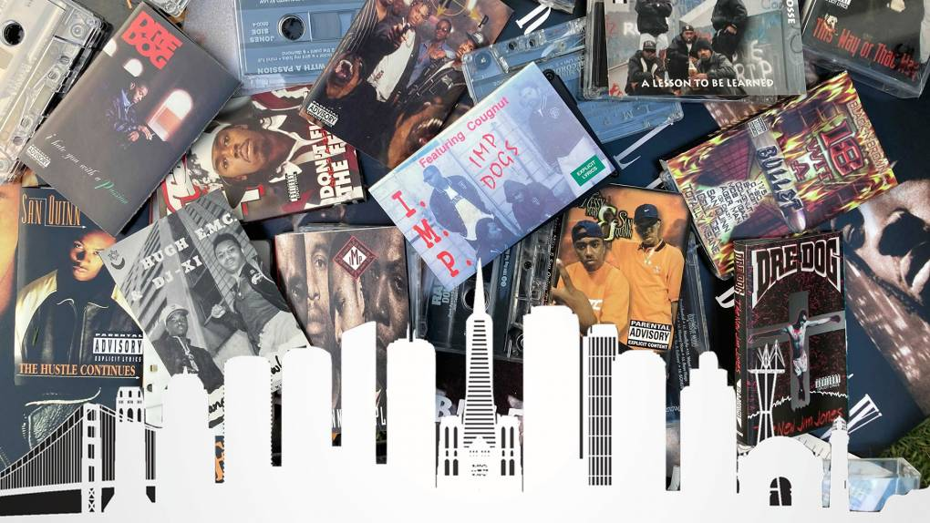 A pile of rap tapes from San Francisco set against the SF skyline