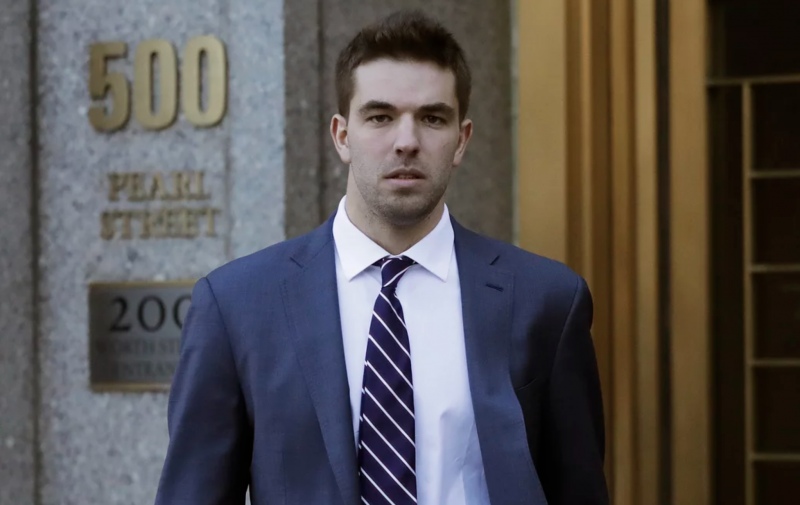 Billy McFarland, pictured leaving federal court in March 2018, was sentenced to six years in prison after pleading guilty to fraud charges related to the failed Fyre Festival.