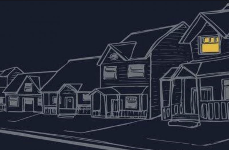 An illustration of a row of houses, all dark except for one upstairs window, from the cover of 'Curb' by Divya Victor.