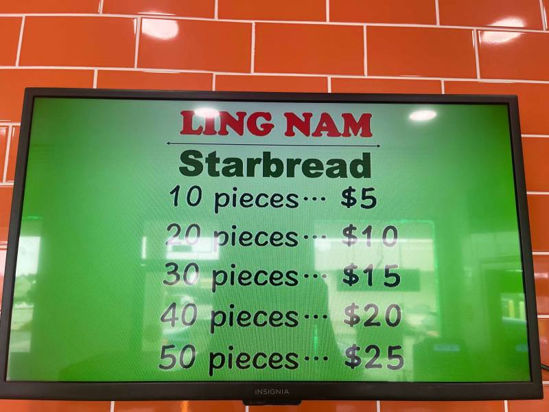 The Starbread menu, with señorita bread priced at 10 pieces for $5, 20 pieces for $10, etc.