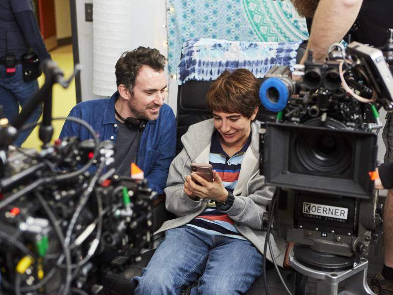 Showrunner Nasim Pedrad behind the scenes of 'Chad' with director Rhys Thomas. Pedrad plays a teenage boy in the new TBS comedy.