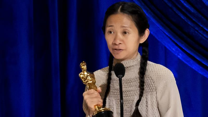 Chloé Zhao accepts the Oscar for best director during Sunday night's ceremony. Her film 'Nomadland' also won best picture.