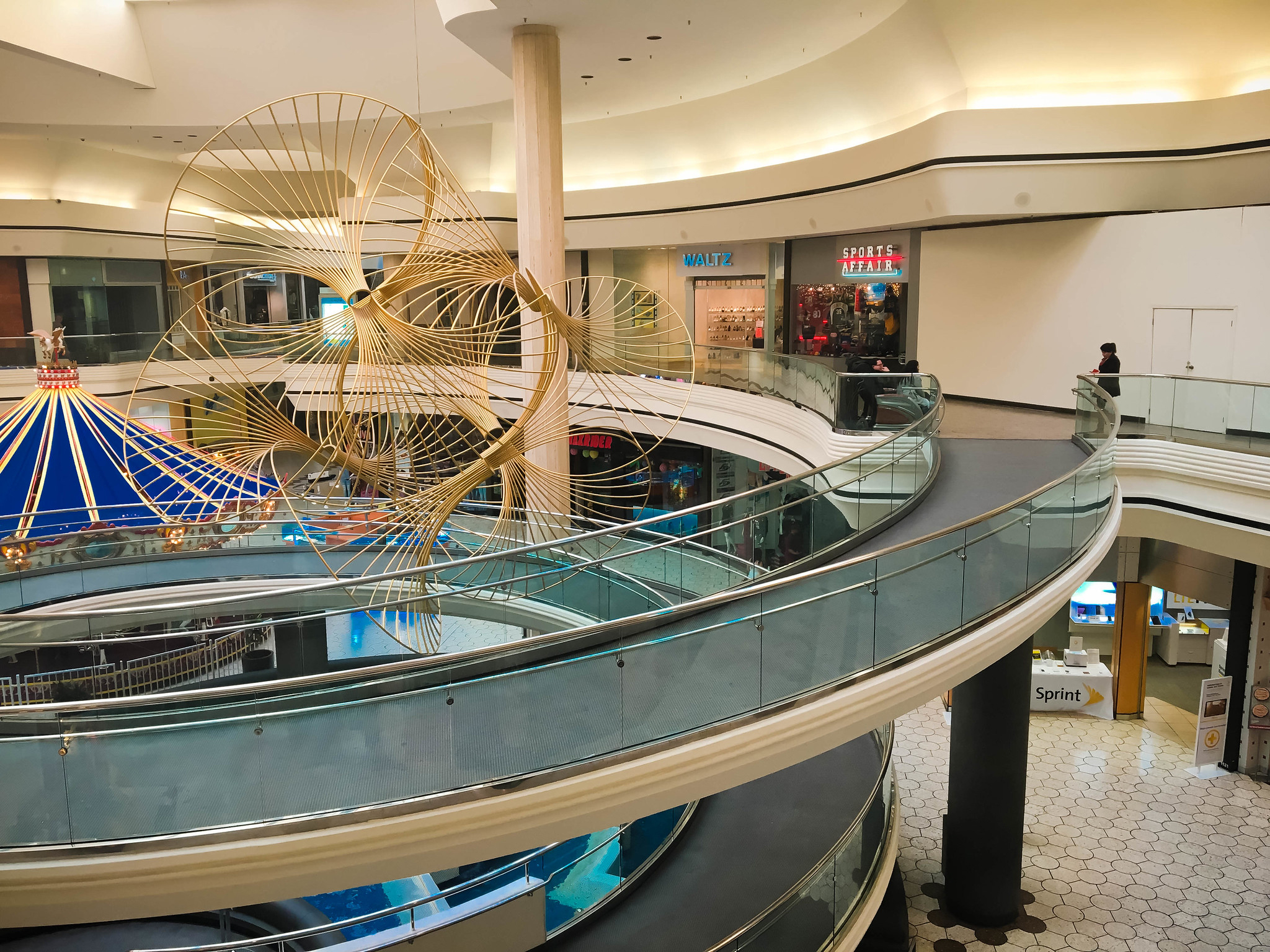 Spiral ramp in an empty shopping mall