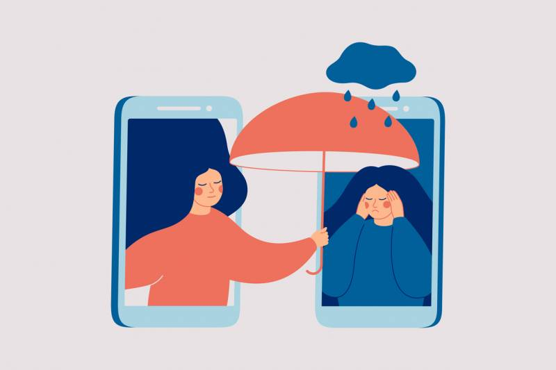 An illustration of a woman holding an umbrella over another woman who is sad.