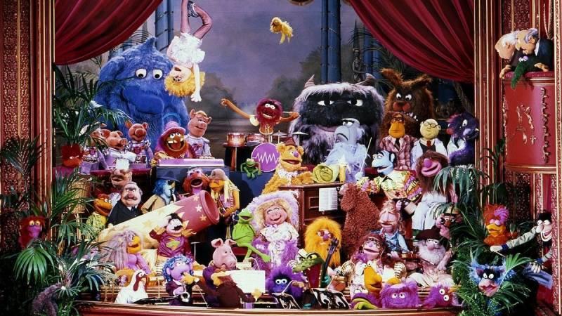A scene of on-stage Muppet mayhem.