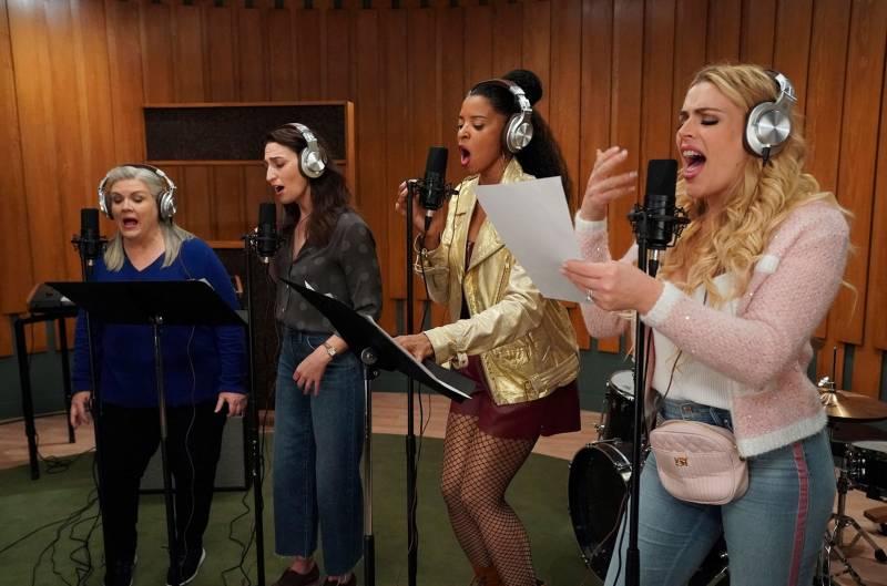 The ladies of Girls5eva: Gloria (Paula Pell), Dawn (Sara Bareilles), Wickie (Renée Elise Goldsberry), and Summer (Busy Philipps).