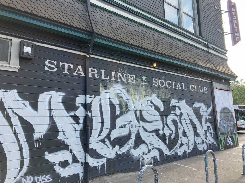 The outside of the shuttered Starline Social Club in Oakland