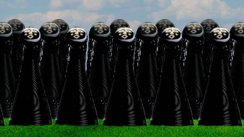 An illustration of two rows of sculptures on green grass with mask-like heads and black bodies.