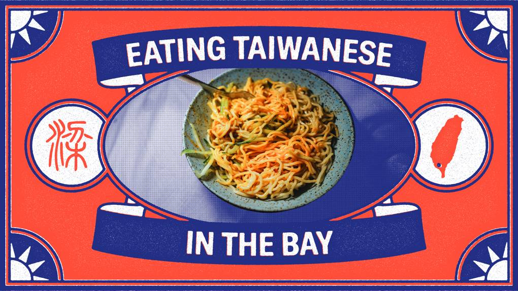 """A plate of cold noodles with peanut sauce inside of a red-and-blue frame that reads """"Eating Taiwanese in the Bay."""""""