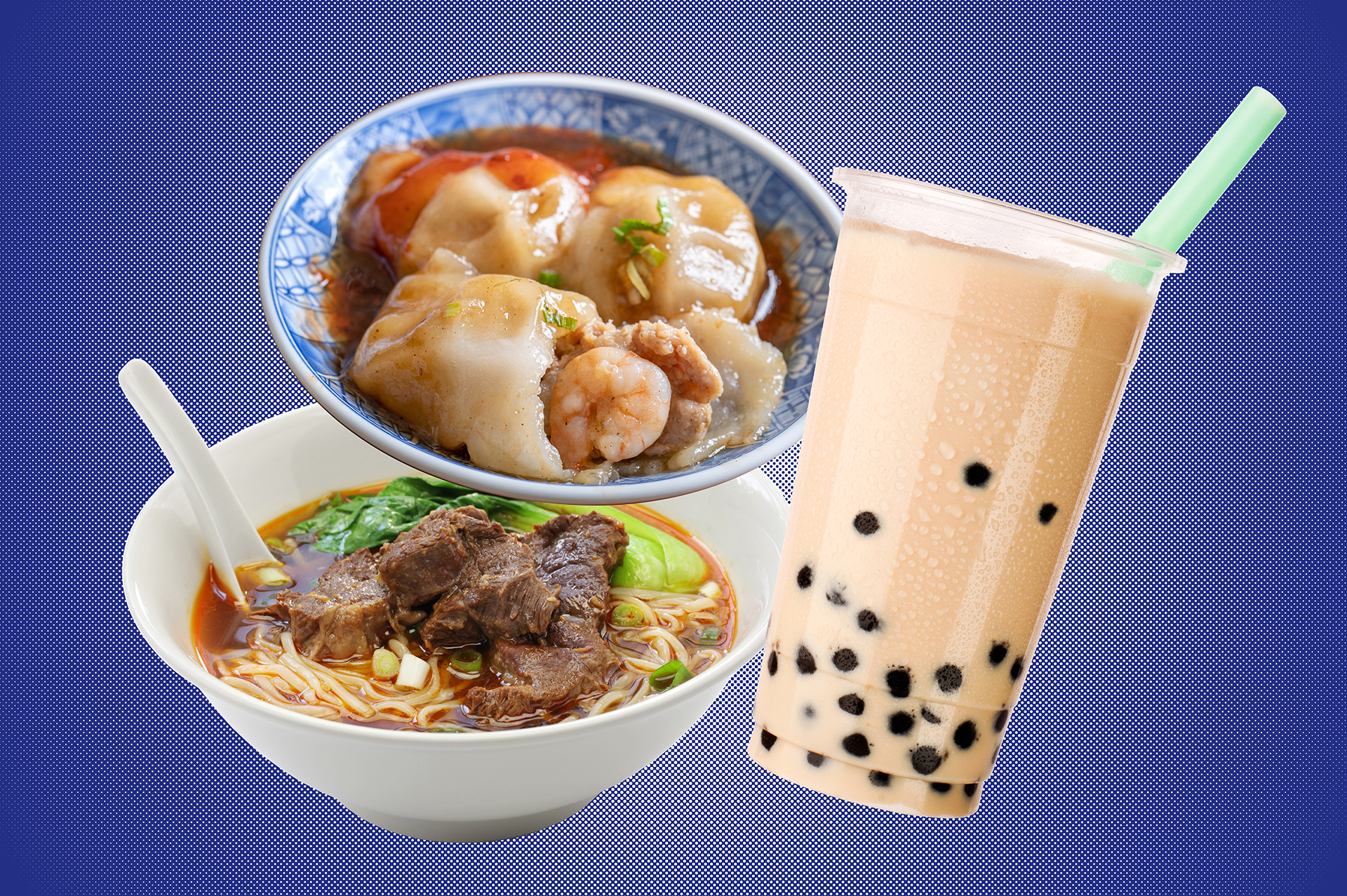 A collage of Taiwanese foods (ba-wan, beef noodle soup, and boba milk tea) on a blue background.