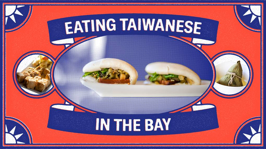 """A pair of gua bao, or Taiwanese pork belly buns, on a white plate, surrounded by a red-and-blue frame that reads, """"Eating Taiwanese in the Bay."""""""