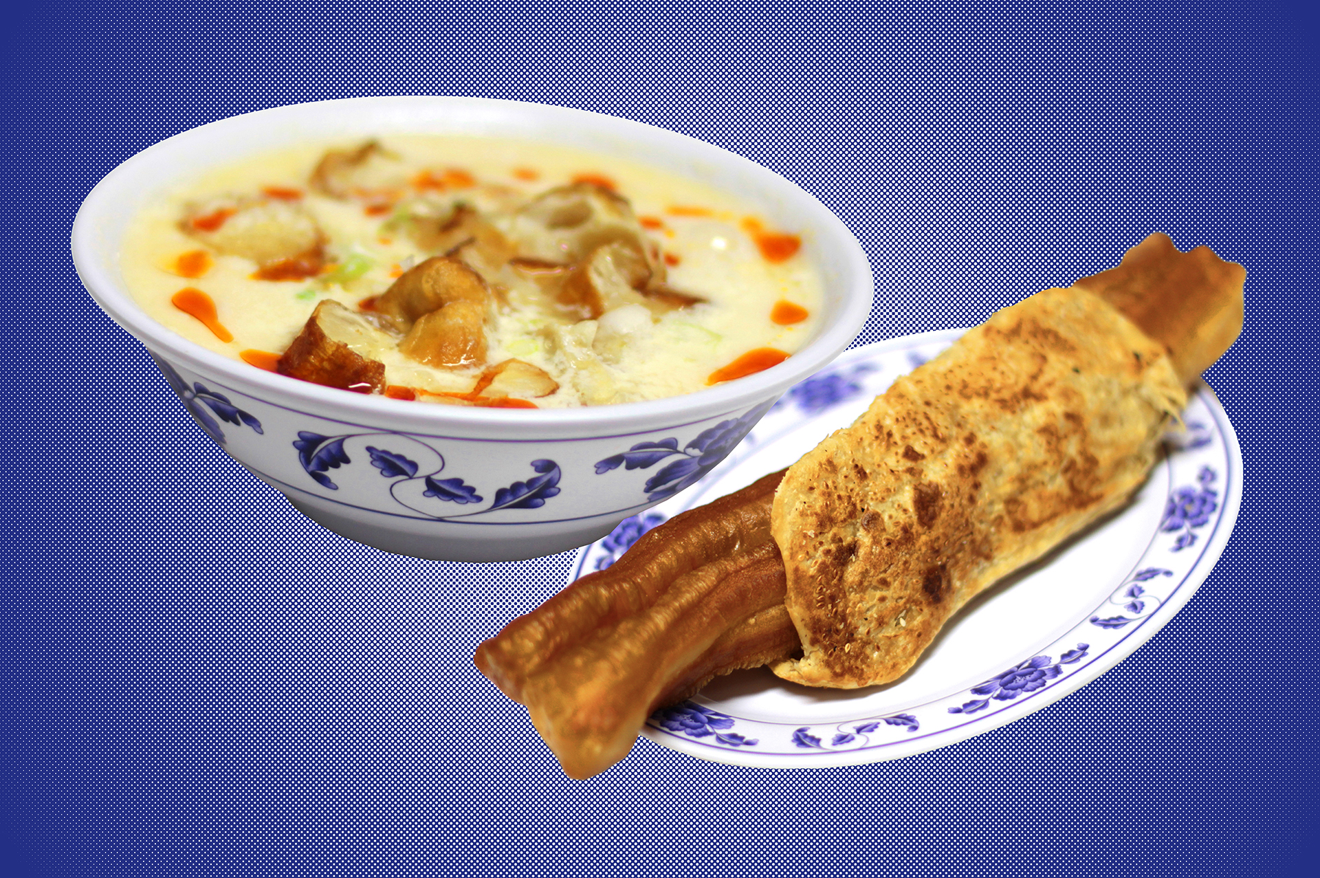 A bowl of savory soy milk and a sesame flatbread wrapped around a fried cruller, both against a blue background.