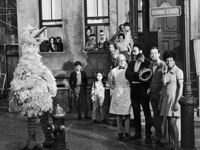 Cast members of the television show, 'Sesame Street' on the set in 1969, the year the show debuted.