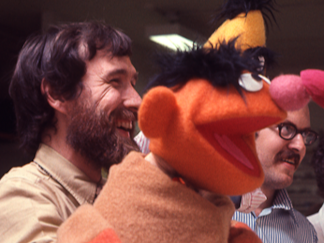 Jim Henson, the puppeteer behind Ernie, and Frank Oz, the longtime voice of Bert, on the set of 'Sesame Street.'