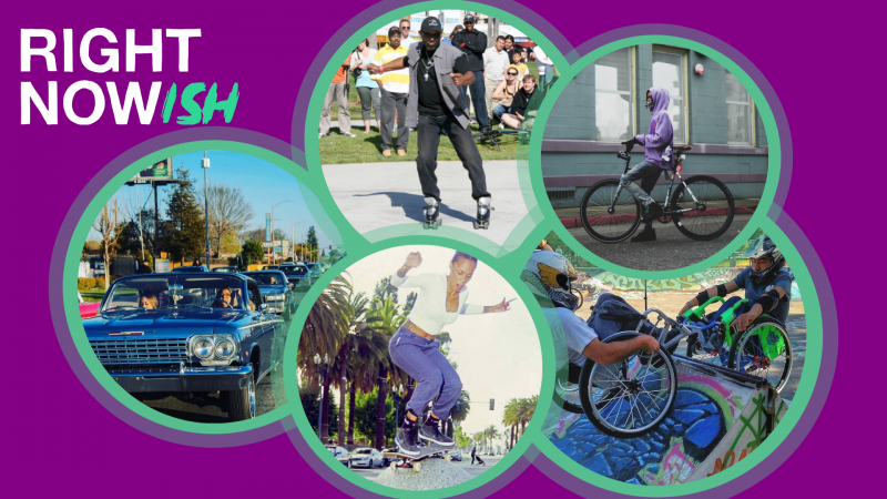 Images of people rollerskating, skateboarding, lowriding, biking and riding ramps in wheelchairs.