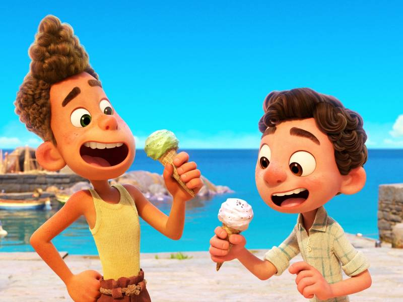 Two sea creatures go undercover as boys in a small Italian Riviera town in the charming Pixar film 'Luca.'