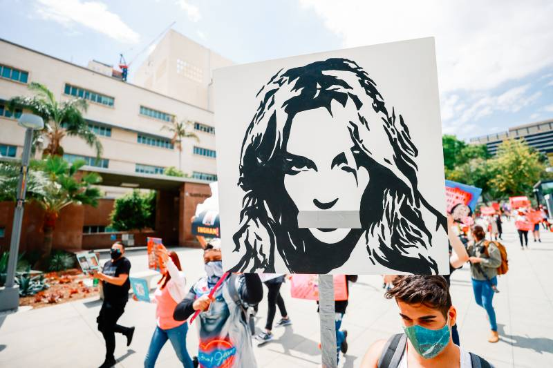 #FreeBritney activists protest outside a courthouse in Los Angeles during an April conservatorship hearing.