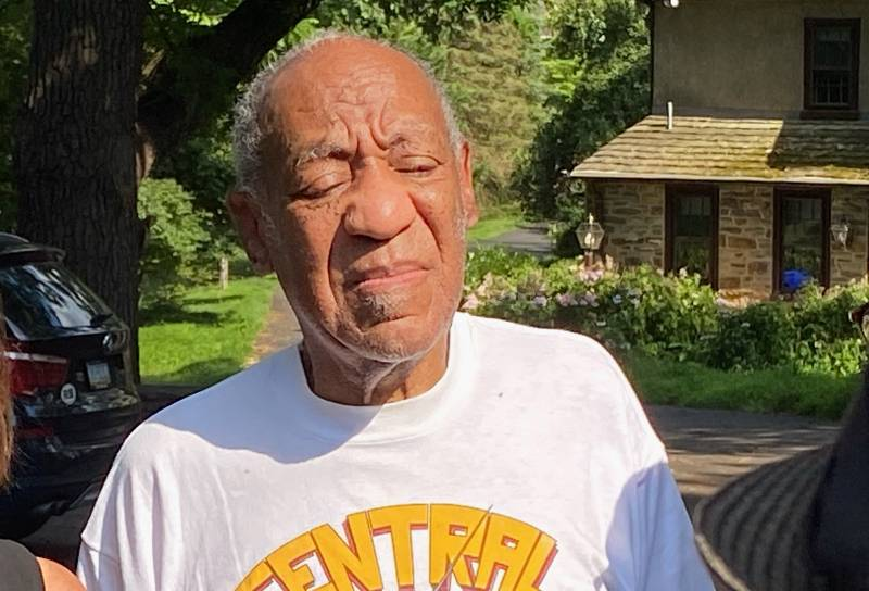 Bill Cosby speaks to reporters outside of his Pennsylvania home on June 30, 2021, after being released from prison.