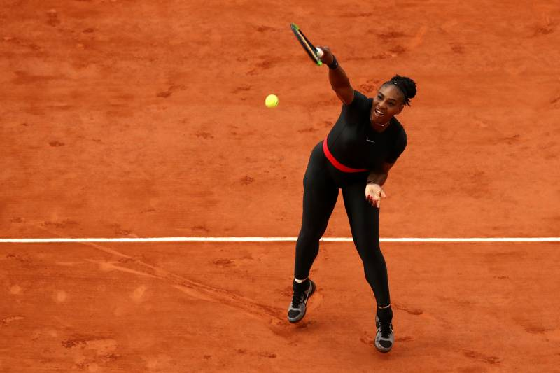 Serena Williams in her now-banned catsuit at the 2018 French Open in Paris.