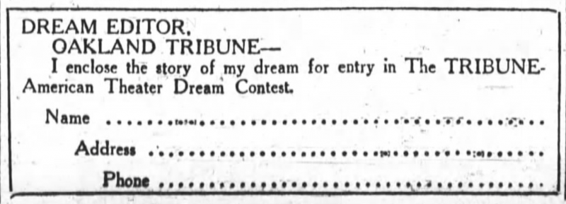 The dream contest form, as seen in 'The Oakland Tribune' throughout November and December 1925.