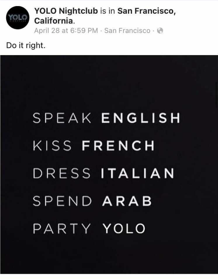YOLO posted this mess back in April, then deleted it a month later.