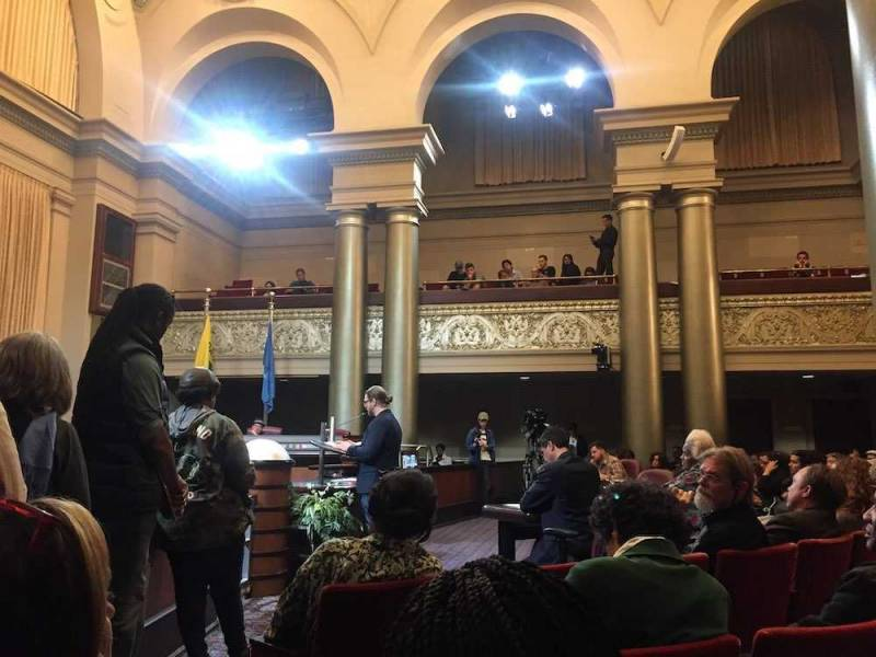 Larry Norris speaks at an Oakland City Council meeting in support of decriminalizing psychedelic mushrooms in the city.