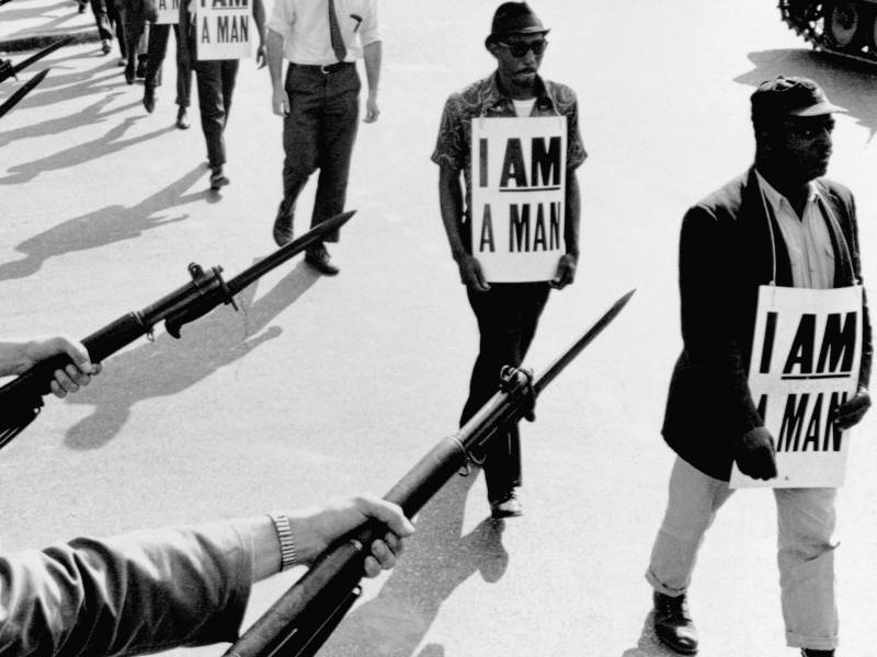 Civil Rights activists are blocked by National Guardsmen brandishing bayonets while trying to stage a protest on Beale Street in Memphis, Tenn., in 1968.