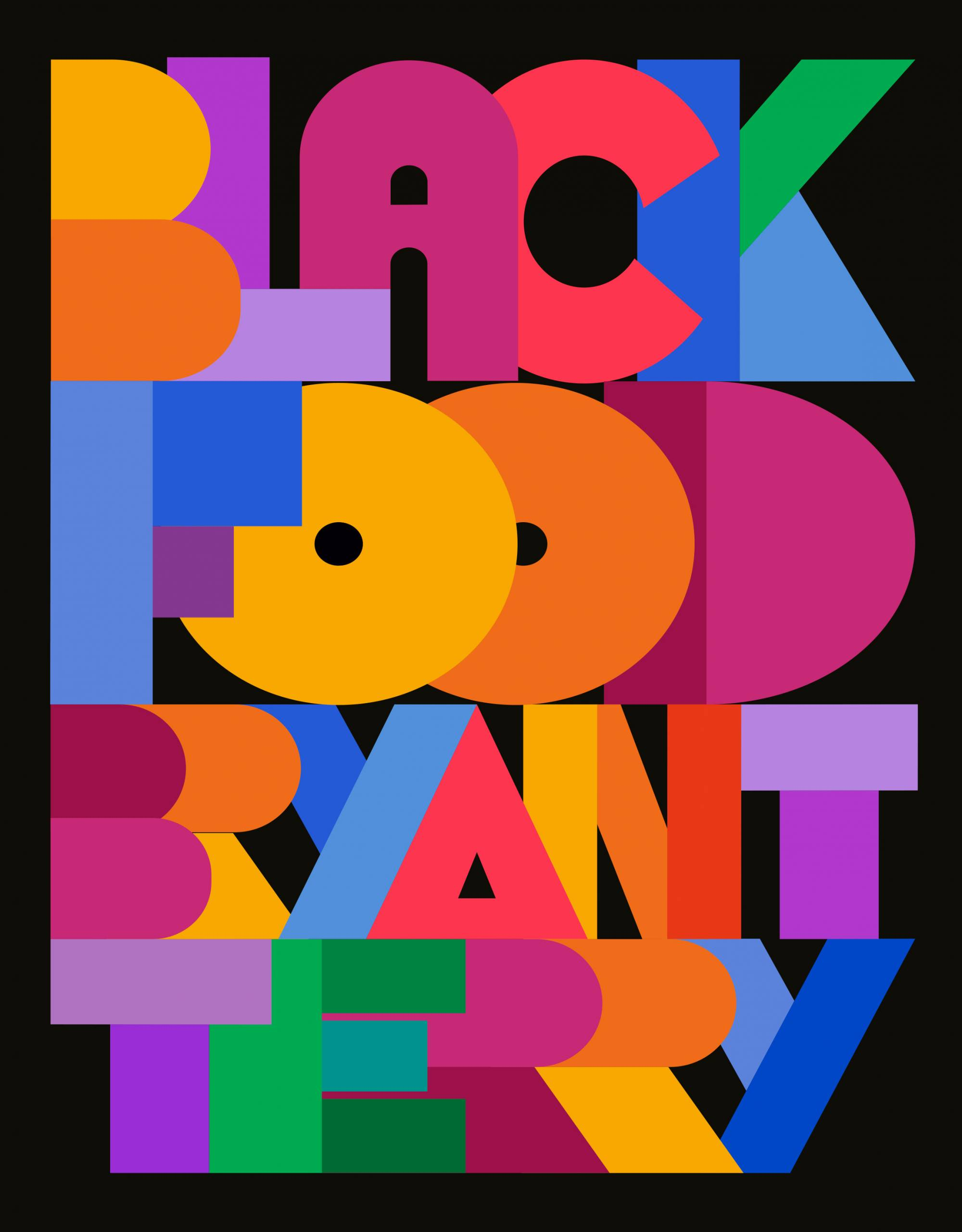 """Book cover with the words """"Black Food"""" and """"Bryant Terry"""" in colorful, blockish lettering."""