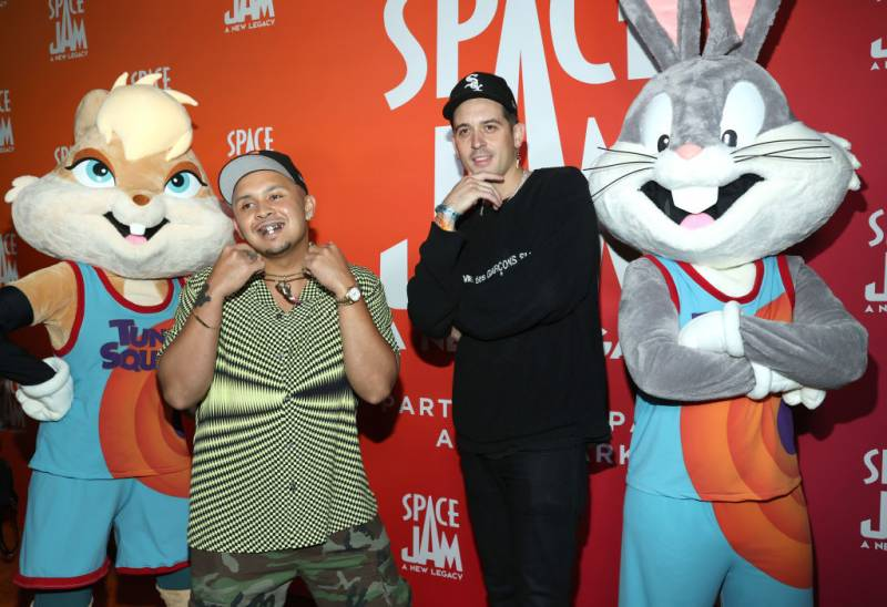 P-Lo and G-Eazy (L-R) attend the 'Space Jam: A New Legacy' party at Six Flags Magic Mountain on June 29, 2021 in Valencia, California.