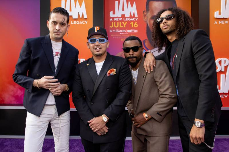 """G-Eazy, P-Lo and Kossisko attend the premiere of Warner Bros """"Space Jam: A New Legacy"""" at Regal LA Live on July 12, 2021 in Los Angeles, California."""