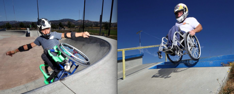 Garnett Silver-Hall and Randy Harlan wear helmets while riding through skateparks in their wheelchairs.