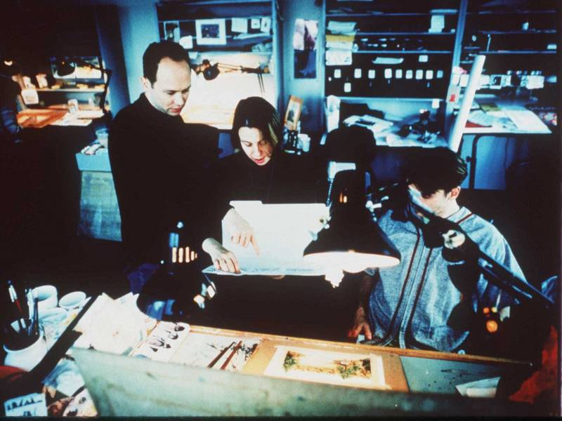'Beavis and Butt-Head' creator Mike Judge (left) and animation director Yvette Kaplan (center) work on the production of the 1996 motion picture, 'Beavis and Butt-Head Do America.' From its debut in the early 1980s, MTV proved itself to be a pioneer in adult animation.