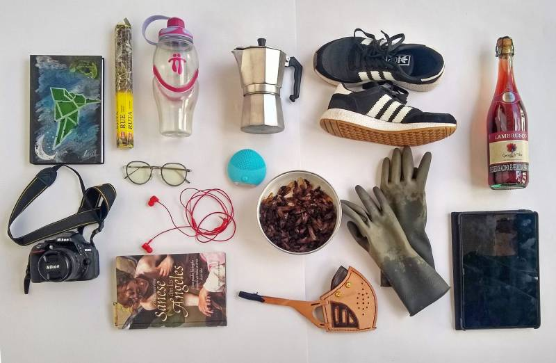 Top row, left to right: Notebook, incense, water bottle, coffee maker, sneakers, wine. Bottom row, left to right: camera, glasses, book, headphones, facial cleansing device, edible ants in a bowl, mask, gloves, tablet.