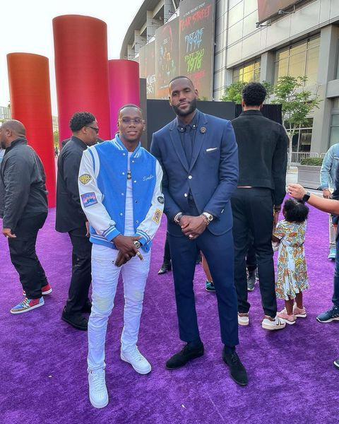 Symba and LeBron James at the 'Space Jam: A New Legacy' premiere at LA Live in Los Angeles.