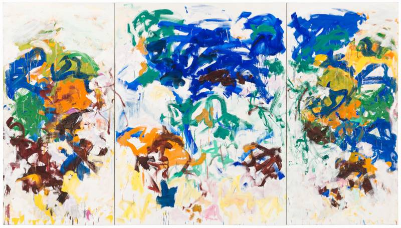 Three-panel abstract oil painting in blue, green, oranges and browns.